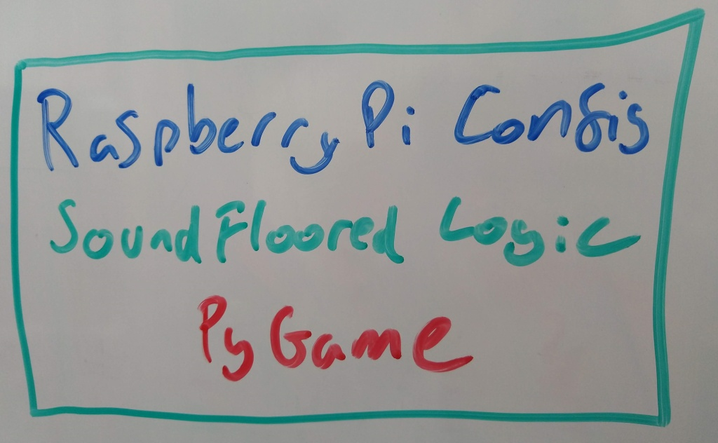 "A diagram on a whiteboard. There is a green box with the following written inside it: ""Raspberry Pi Config"" (in blue), ""SoundFloored Logic"" (in green) and ""PyGame"" (in red)."