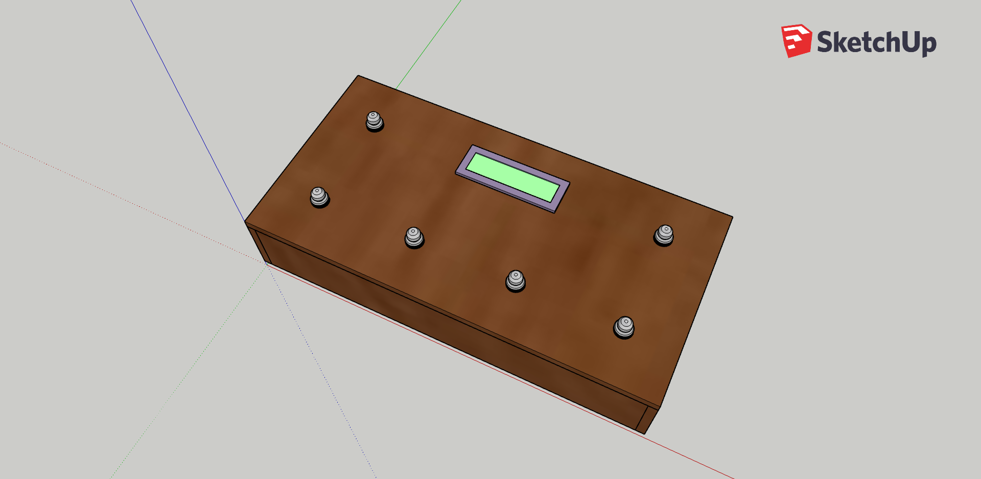 A screenshot of a 3D model of SoundFloored with the lid on. The box is rectangular and has six footswitches, distributed with two on the upper long edge (with a screen between) and four on the lower long edge