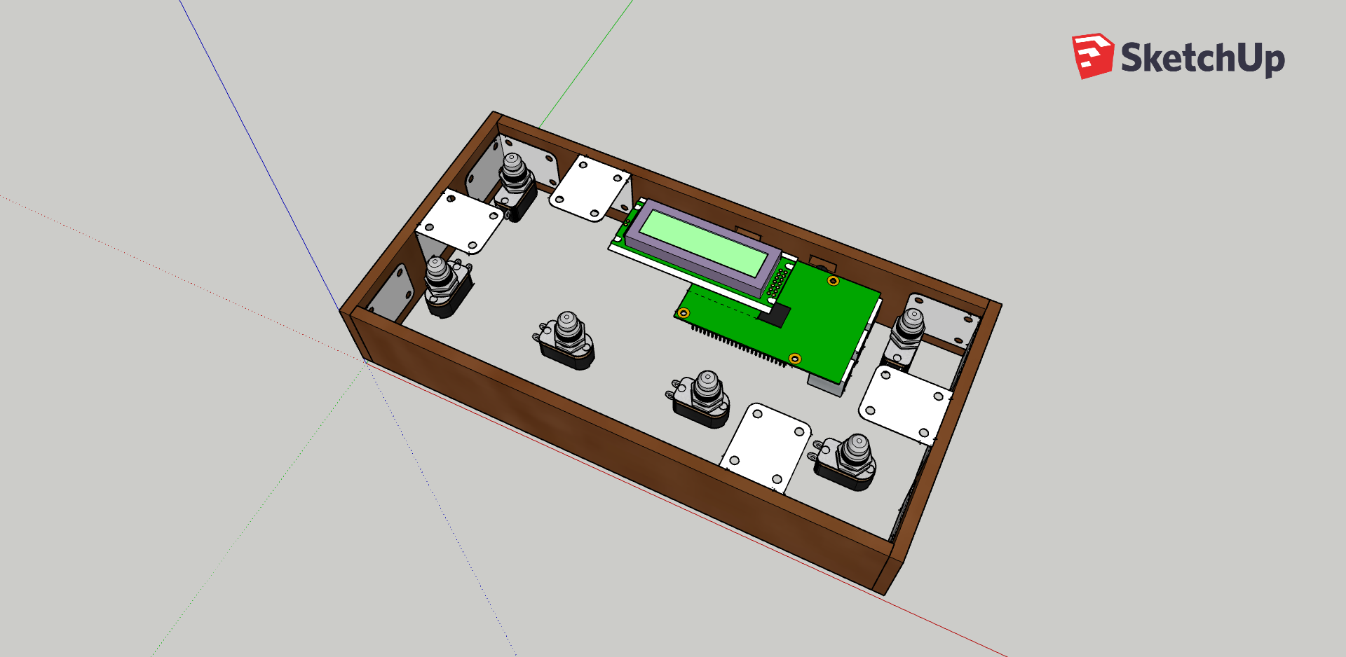 A screenshot of a 3D model of SoundFloored without the lid on. The box is rectangular and has six footswitches, distributed with two on the upper long edge (with a screen between) and four on the lower long edge. Brackets are visible on the inside walls of the box and a Raspberry Pi is mounted on the underside of the screen