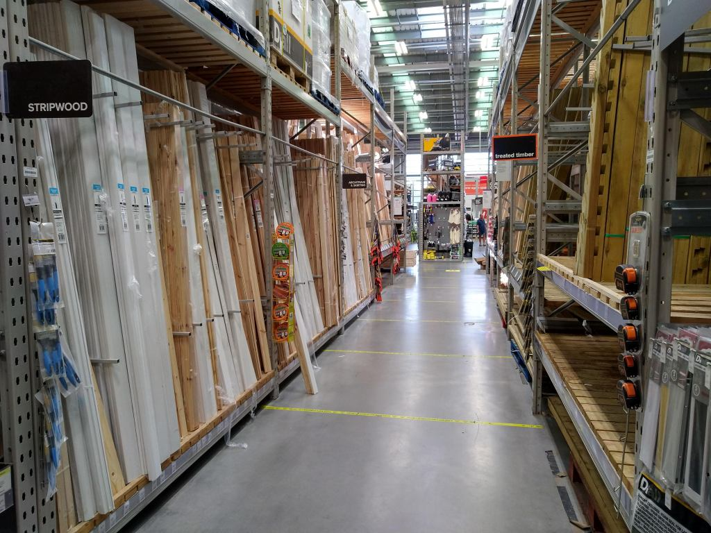 The wood aisle at B&Q, a DIY and home improvement store