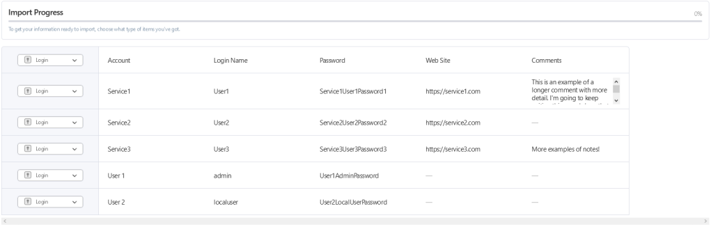 """A screenshot of the import process in the 1Password web interface. The current step shows a preview of the data to be imported and has a series of checkboxes down the left side specifying what kind of item they are (in this case, all """"Login"""" items)"""