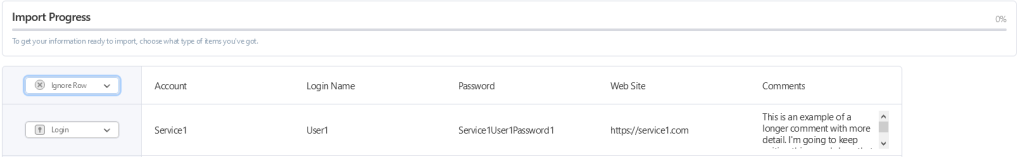 """A screenshot of the import process in the 1Password web interface. The preview of the data import has the top line (with header elements such as """"Account"""" and """"Login Name"""") has been set to """"Ignore Row"""" instead of """"Login"""""""