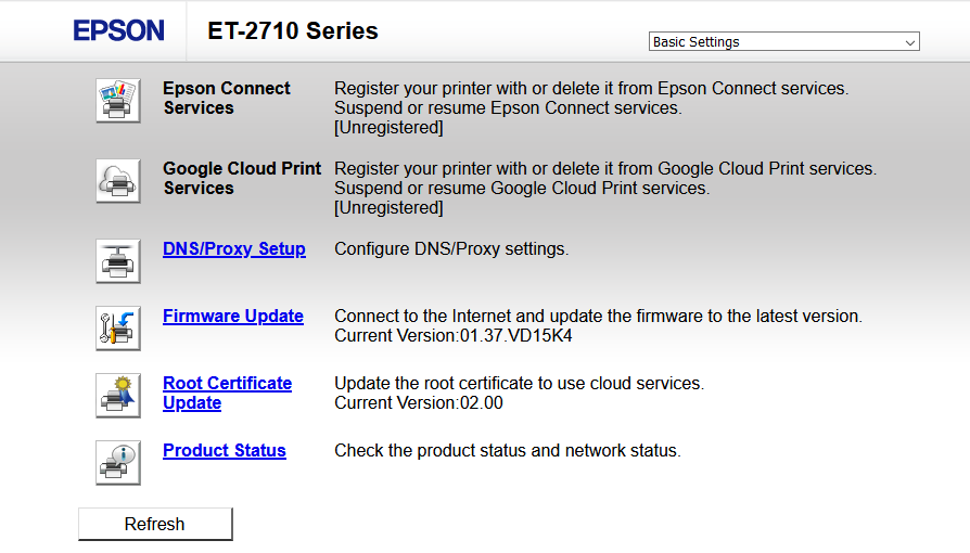 """A screenshot of the Epson ET-2710 printer portal. There is a dropdown in the upper right that says """"Basic Settings"""" and the main part of the page has a number of options that can be clicked, such as """"DNS/Proxy Setup"""", """"Firmware Update"""", """"Root Certificate Update"""" and """"Product Status"""""""