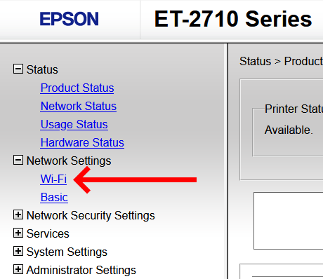 """A screenshot of the Epson ET-2710 printer portal navigation. The """"Network Settings"""" section is expanded and there is a large red arrow pointing to the link titled """"Wi-Fi"""""""