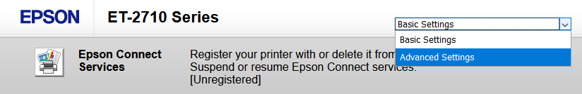 """A screenshot of the Epson ET-2710 printer portal. There is a dropdown in the top right that is selected, with the current option being """"Basic Settings"""" and the highlighted option being """"Advanced Settings"""""""