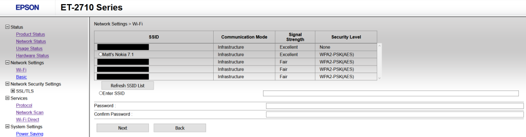"""A screenshot of the Epson ET-2710 printer portal. The left panel shows the site navigation, while the main panel shows a list of wireless SSIDs (all but """"Matt's Nokia 7.1"""" are redacted) with information on their Communication Mode, Signal Strength and Security Level. Text boxes labeled """"Password"""" and """"Confirm Password"""" are placed below"""