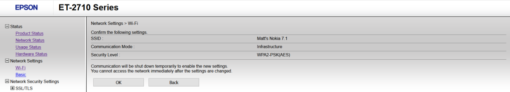 """A screenshot of the Epson ET-2710 printer portal. The left panel shows the site navigation, while the main panel shows the selected Wi-Fi settings to be applied with the text """"Confirm the following settings"""""""