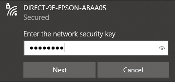 """A screenshot of connecting to a wireless network in Windows. The dialog says """"Enter the network security key"""" with a text box below it. There are 8 characters typed into the box, obfuscated as filled circles"""