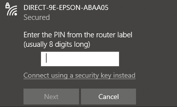 """A screenshot of connecting to a wireless network in Windows. The dialog says """"Enter the PIN from the router label (usually 8 digits long)"""" with a text box. Below the text box it says """"Connect using a security key instead"""""""