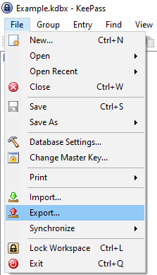 """A screenshot of the File menu in KeePass with the """"Export"""" option highlighted"""