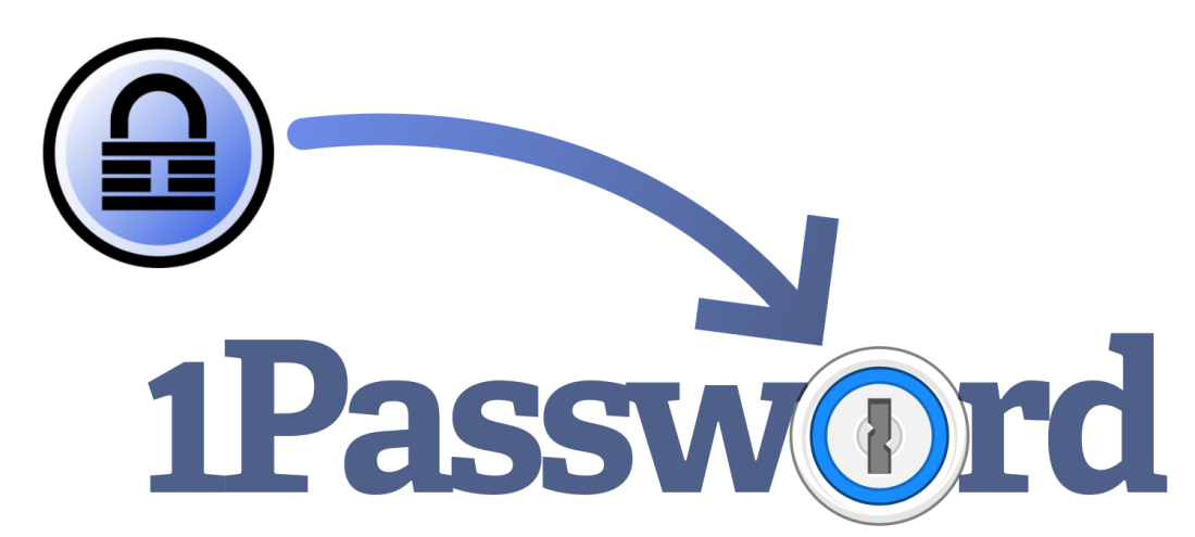 "An image of the KeePass and 1Password logos, with an arrow pointing from KeePass to the stylised ""o"" in 1Password"