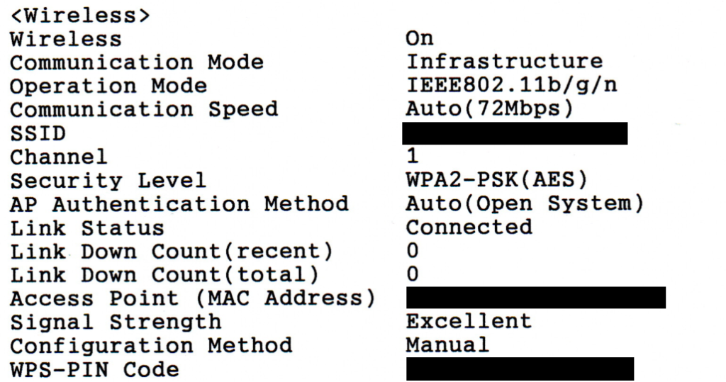 """A scan of the Network Status Sheet produced from an Epson ET-2711, specifically the """""""" section. This shows detailed information on the current wireless connection, with some of the information (such as """"SSID"""", """"Access Point (MAC Address)"""" and """"WPS-PIN"""") redacted"""